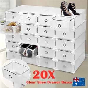 20Pcs-Clear-Drawer-Shoe-Storage-Boxes-Stackable-Container-Organizer-Cabinet-Rack