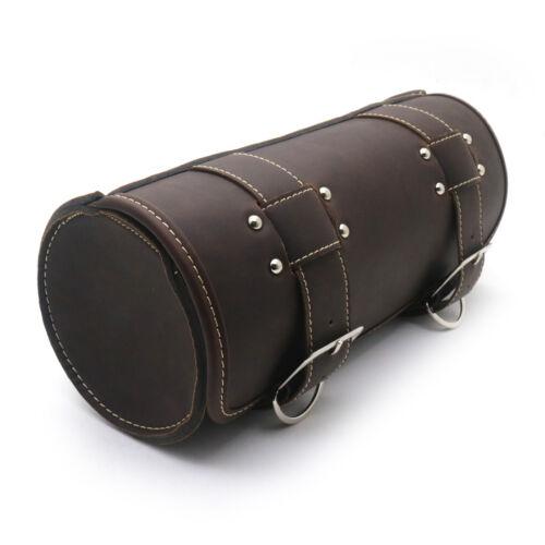 Motorcycle Dark Brown PU Leather Saddlebag Round Barrel Saddle Tool Bag