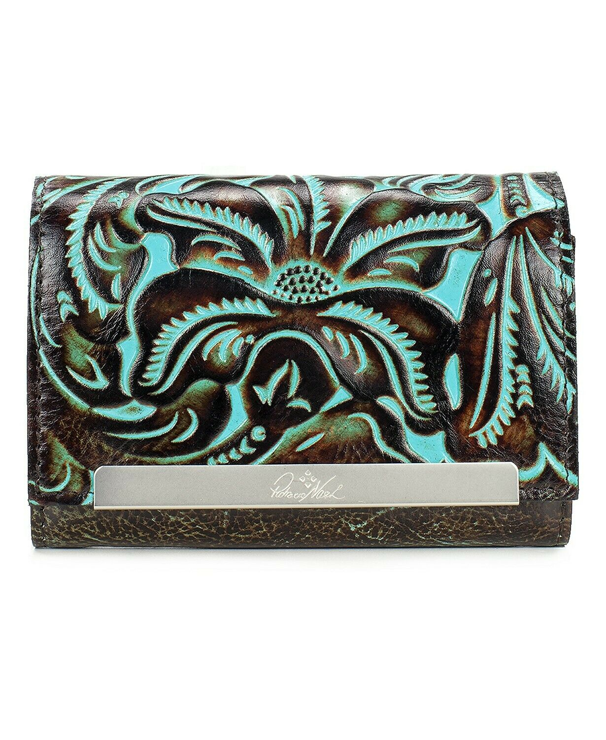 Patricia Nash NWOT Cametti Womens Leather Wallet-Tooled Turquoise RFID MSRP