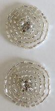2 Rhinestone Beads Iron on Buttons Flatback Embellishment DIY Sewing Craft Deco