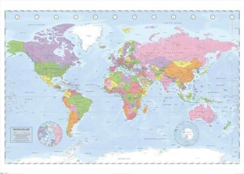 140x100 cm Educational World Map Miller Projection Giant XXL Poster