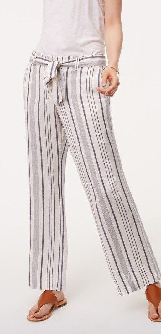 Ann Taylor LOFT Striped Tie Waist Fluid Trousers Pants Size 00P, 6P Whisper Whit