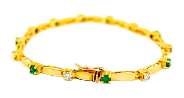 7759af5e545ef 14k Gold Diamond and Emerald Bracelet