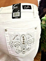 Woman's Earl Jeans Capri White Embroidered Bling Pockets Fleur De Lis Size 14p