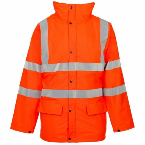 Homme STAND SAFE Orange Haute Vis Safety Work Wear Sweat à capuche à capuche visibilité Veste