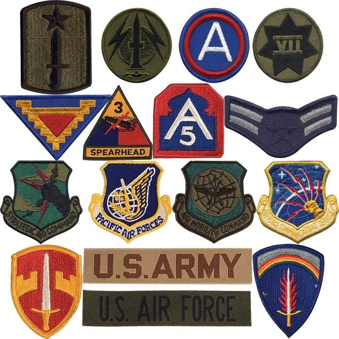 Miltary Army Air Force Assortment Iron on Sew Patches (100 Patches)