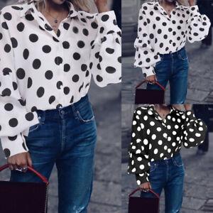 Plus-Size-Women-Summer-Button-Down-Polka-Dot-Puff-Sleeve-Shirt-Dress-Blouse-Tops