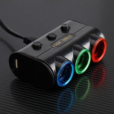 2 USB 3 Way Car Cigarette Lighter Socket Charger Splitter Power Adapter LED 12V
