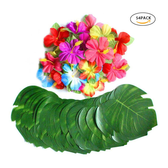 54pcs Artificial Fake Green Palm Plants Tropical Leaves Hibiscus