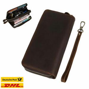 Herren-Leder-lange-Brieftasche-Karte-Reissverschluss-Clutch-Geldboerse-Handtasche