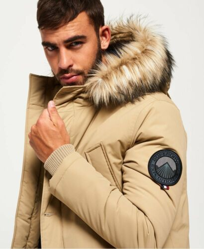 "New Mens Superdry Faux Fur Trimmed Everest Coat Sand Size 91cm S 36/"" RRP £130"
