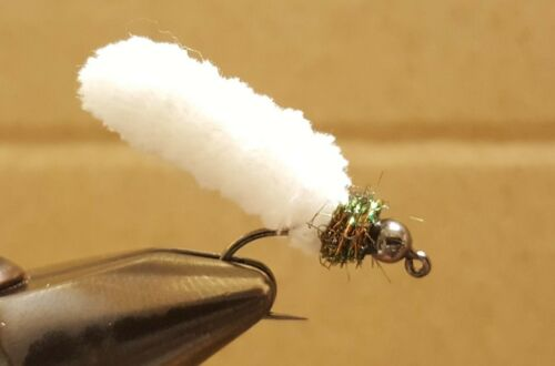 Fly Fishing Flies 12 Beaded Dust Mop Fly Cream  White color size 10 Barbless Jig