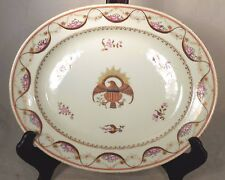 19th C Chinese Export Porcelain Oval Serving Platter Plate American Eagle