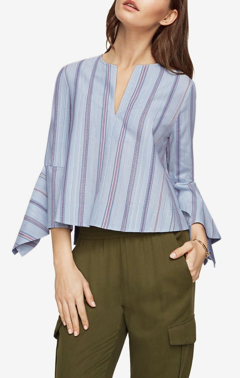 BCBG MaxAzria Teri Striped Top   Light Crystal Blau Combo   OXZ1Y441-M47