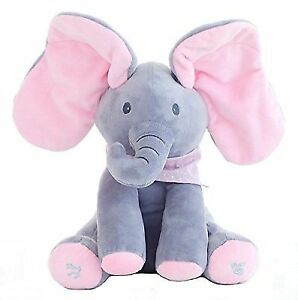 Singing Stuffed Soft Elephant Doll Peek A Boo Hide Seek Game Plush