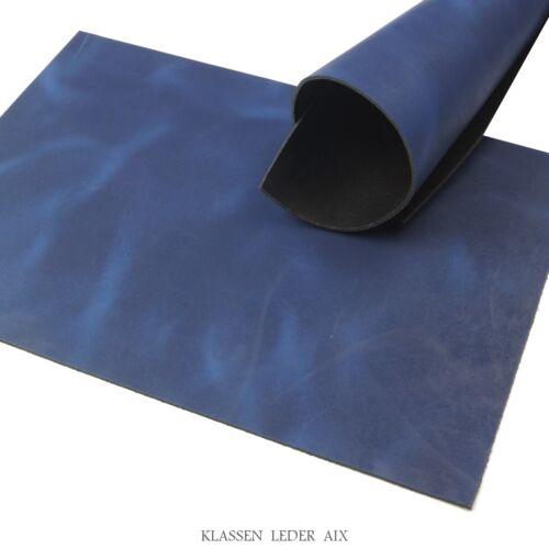 Rindsleder Blau Pull-Up Design 2,5 mm A4 Echt Leder Stück Leather 62
