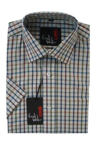Mens short Sleeve Big Size Summer Check Shirts 2XL 4XL Cotton Blend