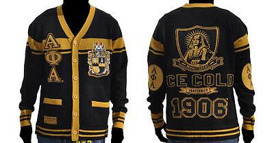 ALPHA PHI ALPHA Black Gold Sweater Alpha Phi Alpha Cardigan Sweater S-4X #2