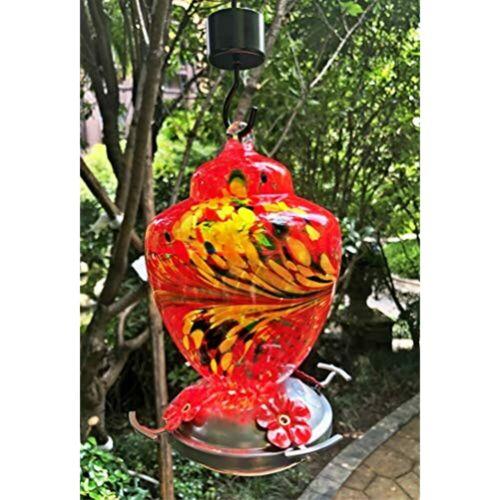 Hand Blown Glass Red 26 Fluid Ounces Nectar Capacity Hummingbird Feeder Perch