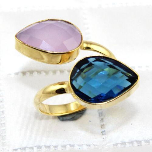 Double poire multi gemme plaqué or Homme Réglable Bague Handmade Jewelry