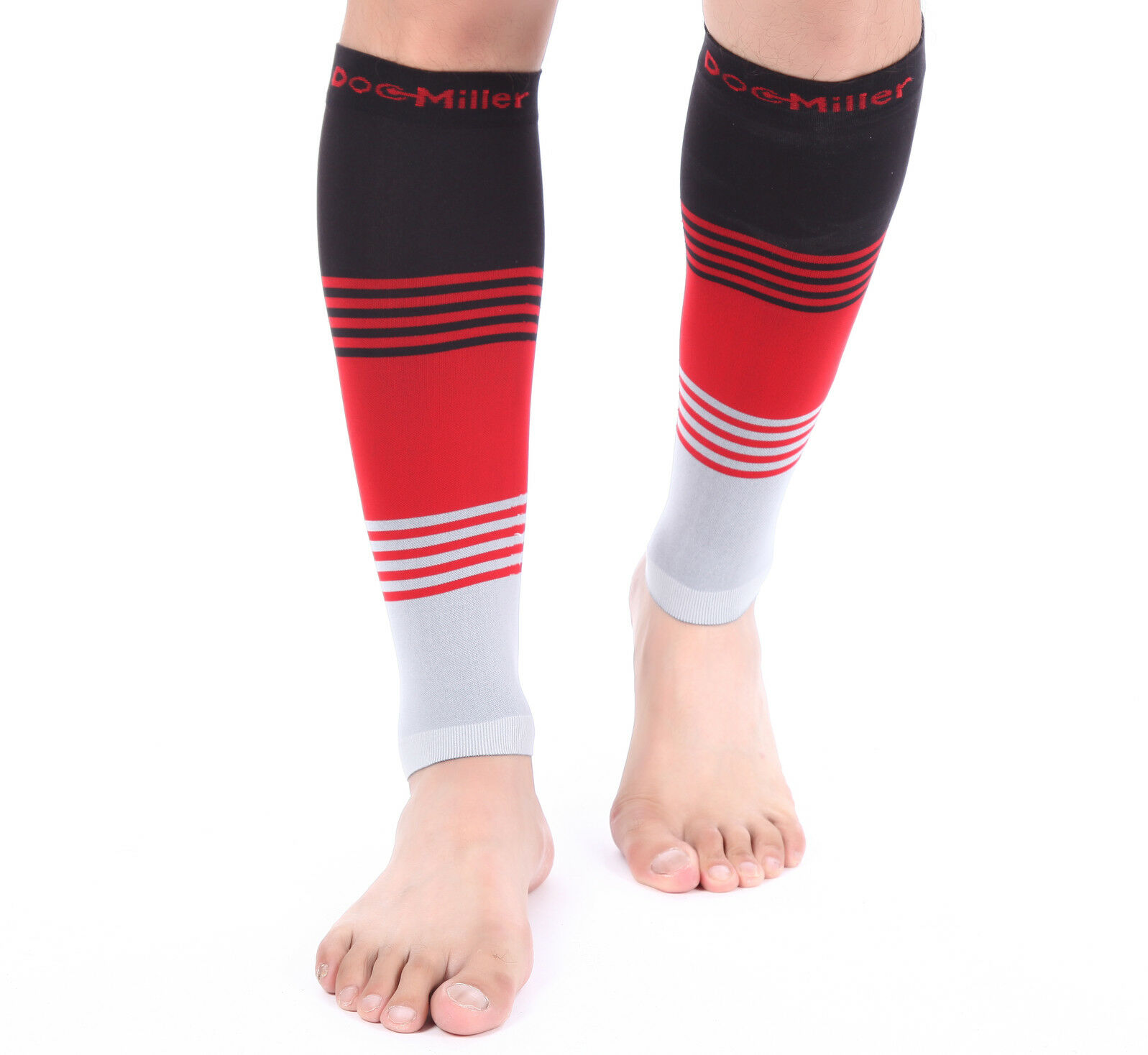 b27d3b3ccd9 Doc Miller Calf Compression Sleeve 1 Pair 20-30 mmHg Varicose Veins  BLACK RED GRAY