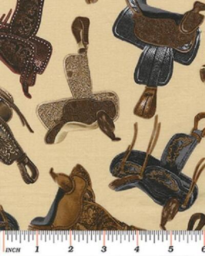 Fat Quarter Wild West Saloon Western Saddles 100/% Cotton Quilting Fabric Cream