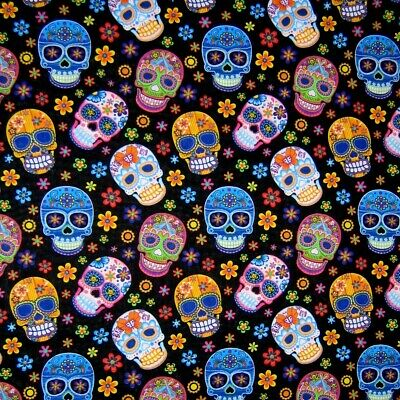 Coco Skull Toss Disney Quilting Fabric Black Priced per Yard Cotton