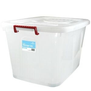 Image is loading 5-x-130Lt-LARGE-WHITE-CLEAR-Plastic-Storage-  sc 1 st  eBay & 5 x 130Lt LARGE WHITE CLEAR Plastic Storage Tubs / Containers Roller ...