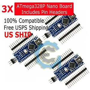 3Pcs-USB-CH340G-Nano-V3-0-16M-5V-ATmega328P-Micro-Controller-Board-For-Arduino