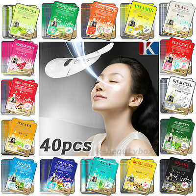 40PCS Essence Facial Face Mask Sheet, Moisture Face Mask Pack Korean Cosmetics
