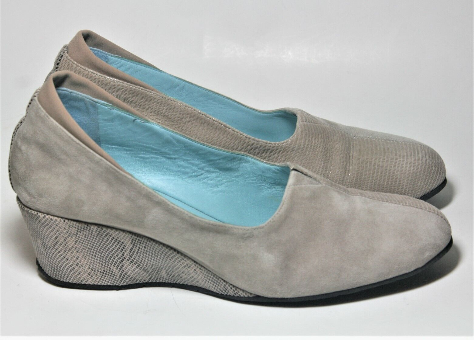 THIERRY RABOTIN SHOES BEIGE MULTI TONE LEATHER WEDGE PUMP 39.5  450