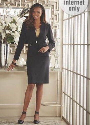 Ashro Black Silver Akila Skirt Suit Wedding Church Dinner Party 12 14 20W 24W