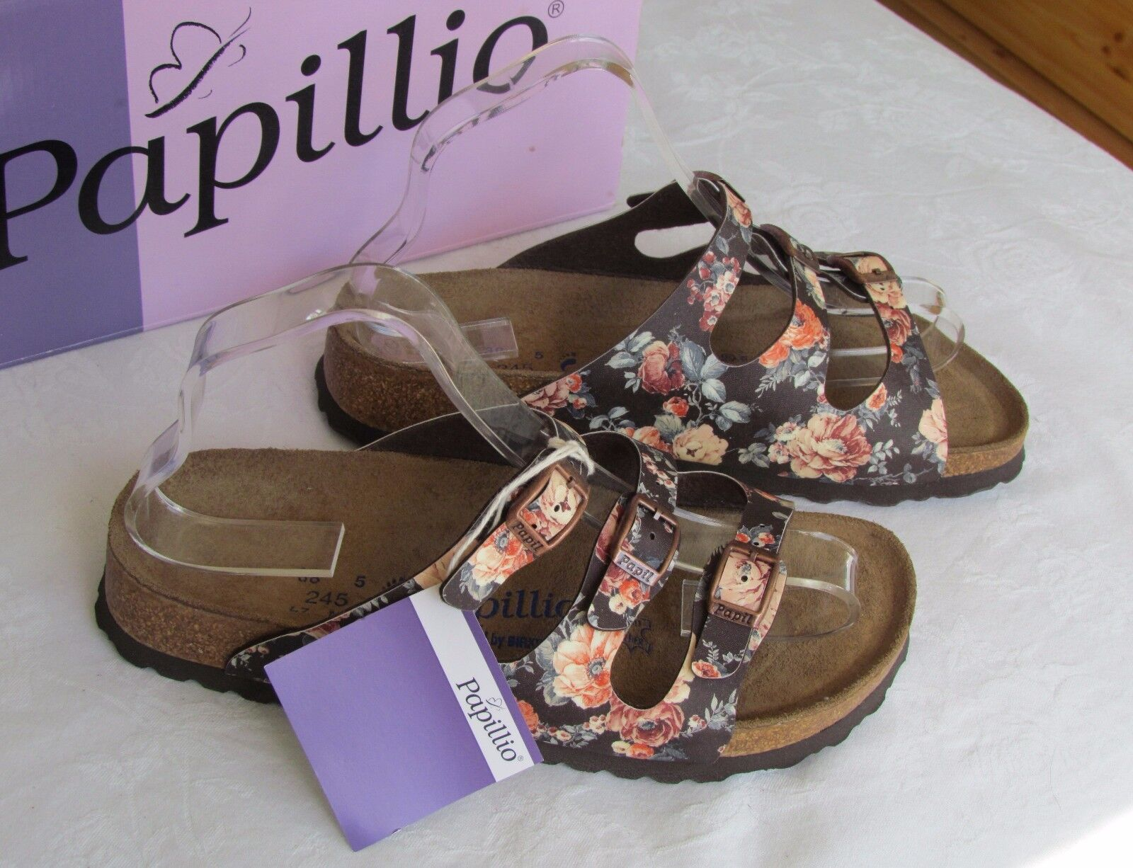 NEW Papillio Florida Ladies Brown Floral Soft Footbed Sandals Size 5 EU 38