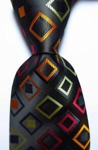 New-Classic-Checks-Black-Red-Gold-JACQUARD-WOVEN-100-Silk-Men-039-s-Tie-Necktie