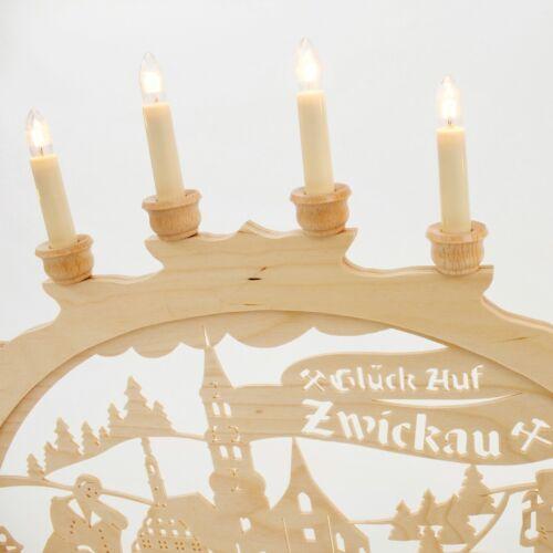 Holz-Schwibbogen Lichterbogen Zwickau 70 cm Made im Erzgebirge Birke Holz