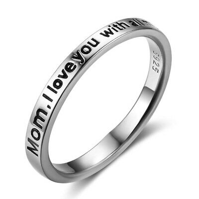 "925 Sterling Silver ""Mom, I love you with all my heart"" Band Ring Size 6-8"