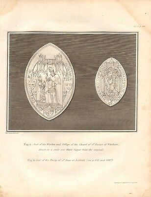 Windsor St Mary Luffield Clear-Cut Texture Seals Of St George 1806 Antique Print
