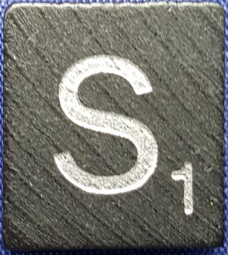 Scrabble Tiles Replacement Letter S Black Wooden Craft Game Piece Diamond Ann.