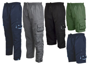 Mens-Zip-Off-Cargo-3-in-1-Trousers-Tracksuit-Sport-Casual-Bottoms-3-4-Shorts