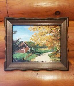 Oil Painting County Barn Scene Virginia Toler