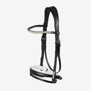 Horze-Rohan-Leather-Curved-Padded-Snaffle-Bridle-with-Rhinestone-Browband