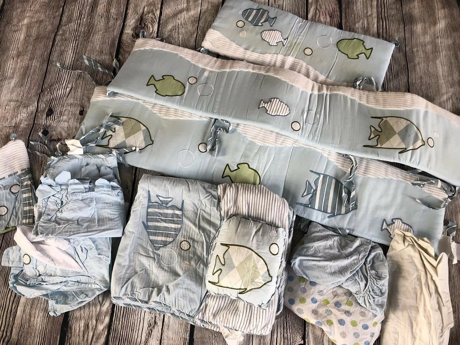 Used  SWEET JOJO DESIGNS GO FISHCRIB BEDDING COLLECTION 9pcs Boys bluee Ocean