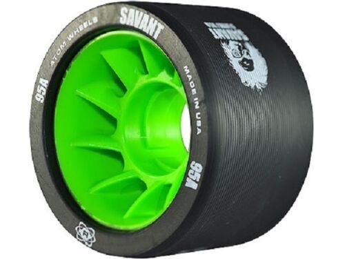 Atom Wheels - set of 4 - Savant derby wheels 59 x 38mm - 95a black / green