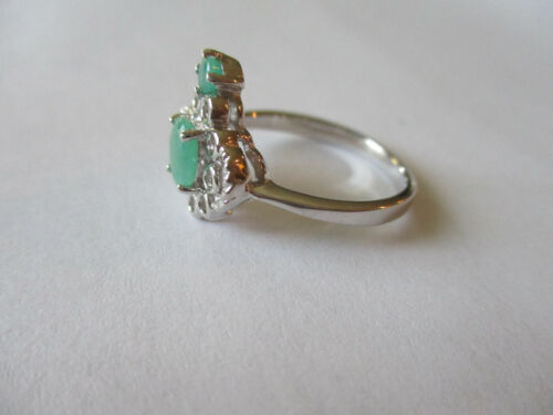Details about  /Gorgeous 2 stone Sterling silver real green emeralds ring for woman size 8