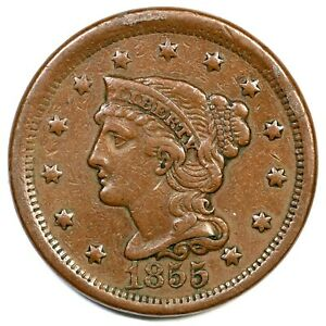 1855-Upright-55-Braided-Hair-Large-Cent-Coin-1c