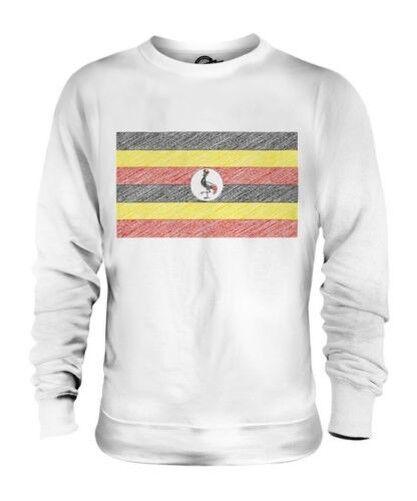 UGANDA SCRIBBLE FLAG UNISEX SWEATER TOP GIFT UGANDAN FOOTBALL