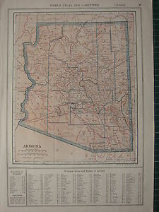 1926 MAP ~ ARIZONA STATE PRINCIPAL CITIES PINAL YUMA COCONIN YAVAPAI