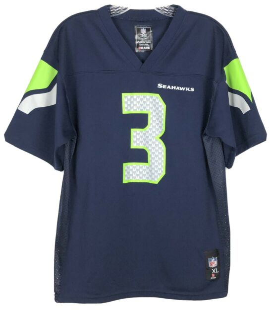 Russell Wilson # 3 Authentic NFL Seattle Seahawks Jersey Youth Size XL 18 / 20