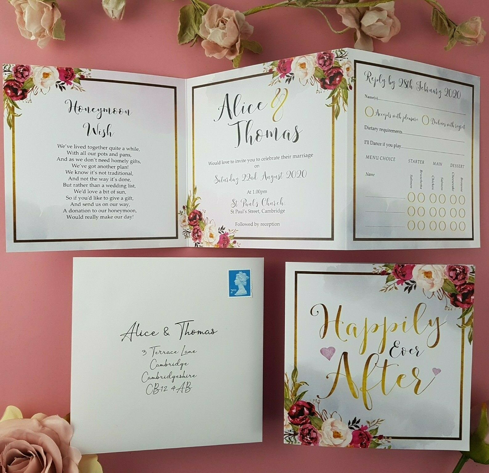 Trifold Wedding Invitations With Envelopes Or Evening Invitations + Menu Options