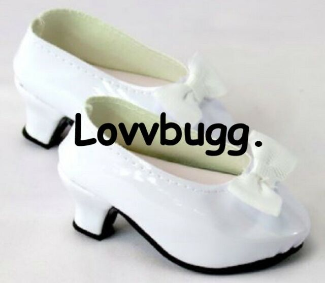 White Patent Heels With Bow For 18 Inch American Girl Doll Shoes True Us Seller For Sale Online Ebay